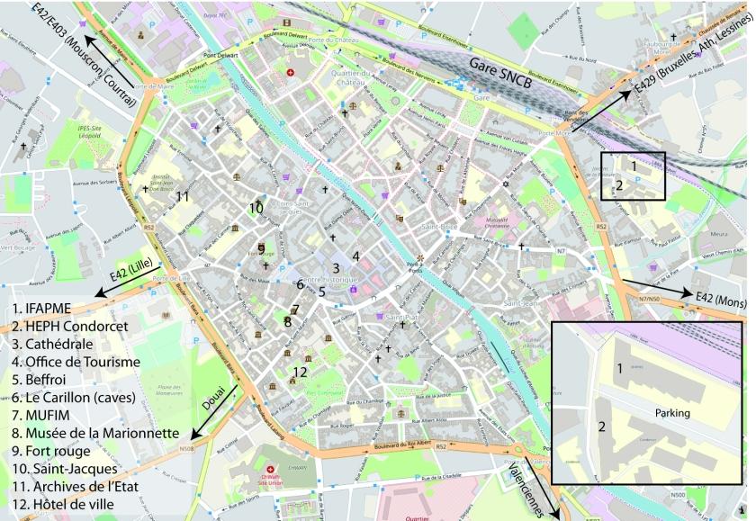 Plan de Tournai lieux du Congrès 2
